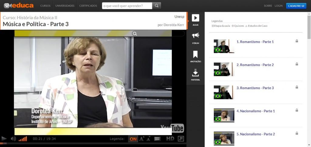 Ambiente de uma sala de aula virtual em um curso da Unesp no Veduca