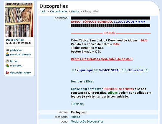 Discografias - uma das comunidades seminais do quase finado Orkut